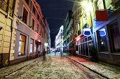 Christmas Night In Old Riga, Latvia