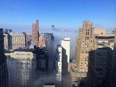 NEW YORK - JANUARY 15: Intense fog blankets the lower Manhattan New York Harbor area on January 15, 2014 in New York.