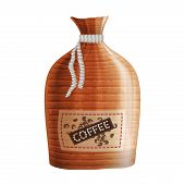 Realistic Textile Bag With Coffee Label. Eps10
