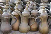 An assortment of coffee pots for sale in Souq Waqif, Doha, Qatar.