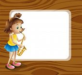 Illustration of an empty rounded template with a female musician