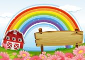 Illustration of an empty wooden signboard at the farm and a rainbow uphigh