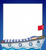 Illustration of an empty template with a ship on a white background