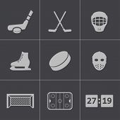Vector black hockey icons set