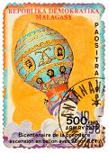 Stamp Printed In The Malagasy Shows Bicentenary Of The First Balloon Ascent With Aeronauts