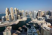stock photo of dubai  - Dubai Marina high angle view - JPG