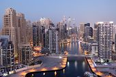 pic of emirates  - Dubai Marina illuminated at dusk - JPG