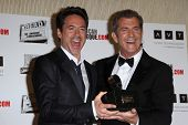 Mel Gibson, Robert Downey Jr (L) at the American Cinematheque Honors Robert Downey Jr., Beverly Hilton, Beverly Hills, CA 10-14-11