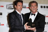 Mel Gibson, Robert Downey Jr. (L) at the American Cinematheque Honors Robert Downey Jr., Beverly Hilton, Beverly Hills, CA 10-14-11