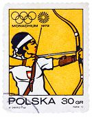 Stamp Printed In Poland Shows Target Archery Olympic Games In Munich