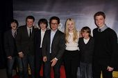 Zach Mills, Riley Griffiths, Joel Courtney, J.J. Abrams, Elle Fanning, Ryan Lee, Gabriel Basso at the