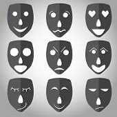 Theater mask emotion set vector