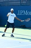 Professional tennis player Donald Young practices for US Open 2013 at National Tennis Center