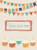 stock photo of cupcakes  - Vector birthday card with party flags and cupcakes  - JPG