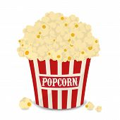Striped Vector Bag Of Popcorn Isolated On White