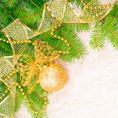 Christmas Decoration On Fir Branch