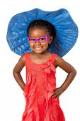 African Girl With Big Blue Hat.