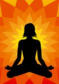 pic of padmasana  - Illustration girl silhouette in padmasana  - JPG