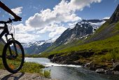 image of recreational vehicle  - Mountain bike rider view on Norway landscape - JPG