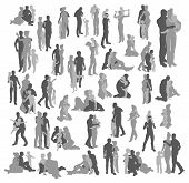 Highly Detailed Happy Family Silhouettes