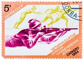 Stamp Printed In The Ussr (russia) Shows A Biathlon With The Inscription And Name Of Series