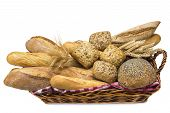 Basket With A Bread Assortment Isolated On White