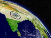 India With Flag From Space