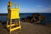 Yellow Lifeguard Chair Cabin  In Spain