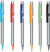 Pens in different colours