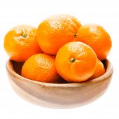 Tasty Sweet Tangerine Orange Mandarin Mandarine Fruit In Wooden Bowl
