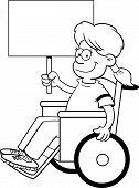 Cartoon girl in a wheelchair holding a sign.