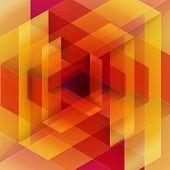 Moebius origami red and orange paper triangle
