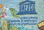 Unesco Logo On Longest Mosaic Wall In The World.