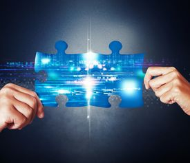 stock photo of union  - System integration concept with union of puzzle - JPG