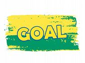 Goal Over Green Yellow Brazilian Colors