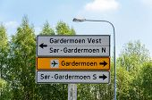 Norway - Road Directions Sign To Gardermoen