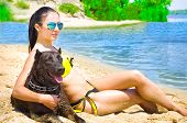 Beautiful young woman with a dog sitting on the beach