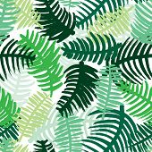Seamless tropical jungle plants green leaf illustration background pattern in vector isolated on whi