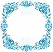 Russian ornaments art frames in gzhel style. Gzhel