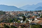 MARMARIS, TURKEY - APRIL 4, 2014: Cityscape and the bay of Marmaris. City population increases 10 times during the tourism season, and its nightlife rivals anything on the Turkish coast
