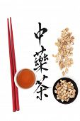 Ginseng herb with chinese calligraphy script, teacup and chopsticks over white background, Translati