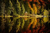 autumn landscape in the mountains with beautiful water reflections