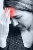 stock photo of mental_health  - Tired woman with big headache or migraine - JPG
