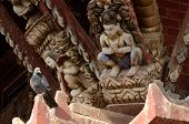 Hindu Gods And Dove - Traditional Wooden Temple Decoration,Nepal,Asia