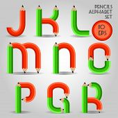 Alphabet in wooden pencil style, red and green