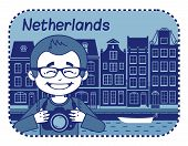 Illustration with Dutch house in Holland.