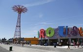 Parachute jump tower and restored B B carousel in Brooklyn
