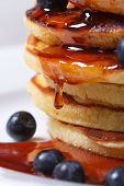 Blueberry Pancakes Drenched With Maple Syrup. Macro