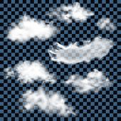Realistic white transparent fluffy clouds. Vector illustration.
