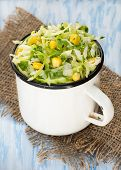 Cabbage Salad With Corn In Vintage Cup